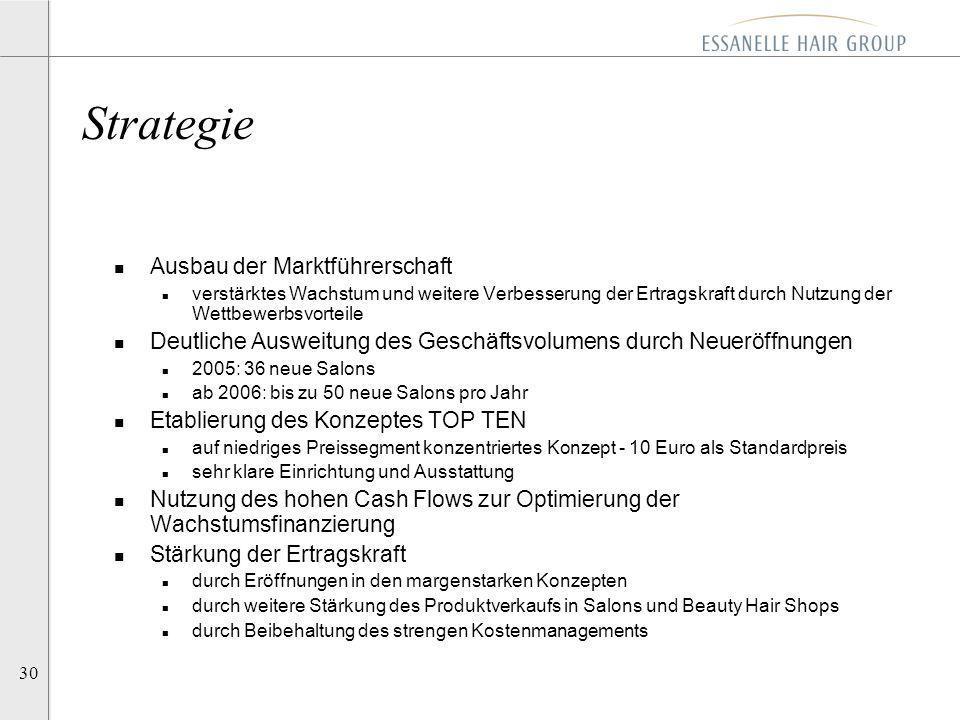 30 n Ausbau der Marktführerschaft n verstärktes Wachstum und weitere Verbesserung der Ertragskraft durch Nutzung der Wettbewerbsvorteile n Deutliche A