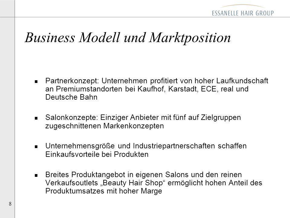 8 n Partnerkonzept: Unternehmen profitiert von hoher Laufkundschaft an Premiumstandorten bei Kaufhof, Karstadt, ECE, real und Deutsche Bahn n Salonkon
