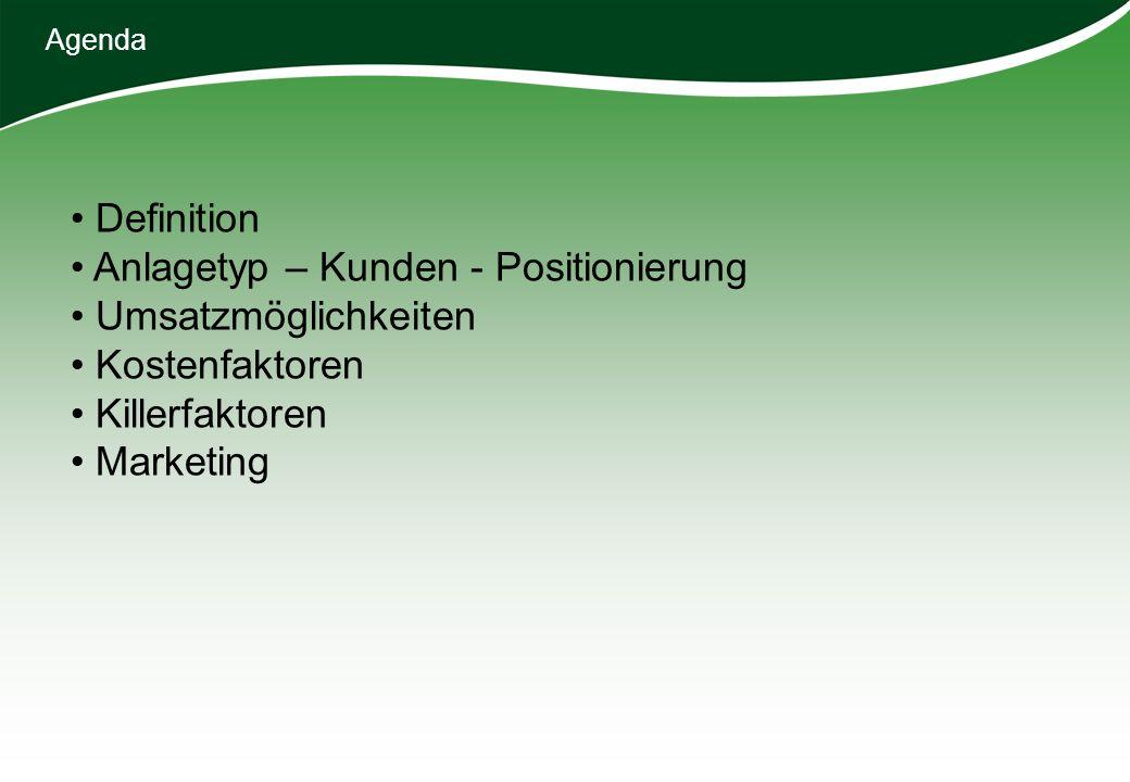 Agenda Definition Anlagetyp – Kunden - Positionierung Umsatzmöglichkeiten Kostenfaktoren Killerfaktoren Marketing
