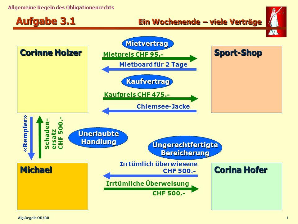 1Alg.Regeln OR/Rü Allgemeine Regeln des Obligationenrechts Corinne Holzer Sport-Shop Michael Corina Hofer Mietboard für 2 Tage Chiemsee-Jacke Kaufprei
