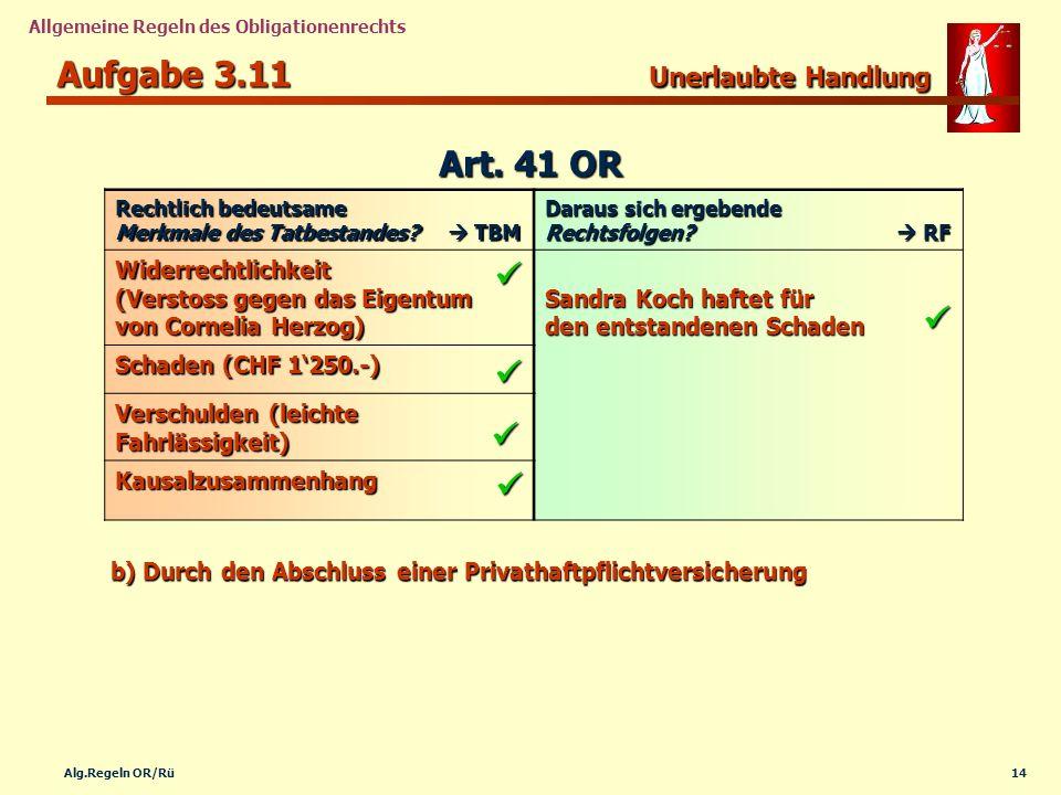 14Alg.Regeln OR/Rü Allgemeine Regeln des Obligationenrechts Aufgabe 3.11 Unerlaubte Handlung Rechtlich bedeutsame Merkmale des Tatbestandes? TBM Darau