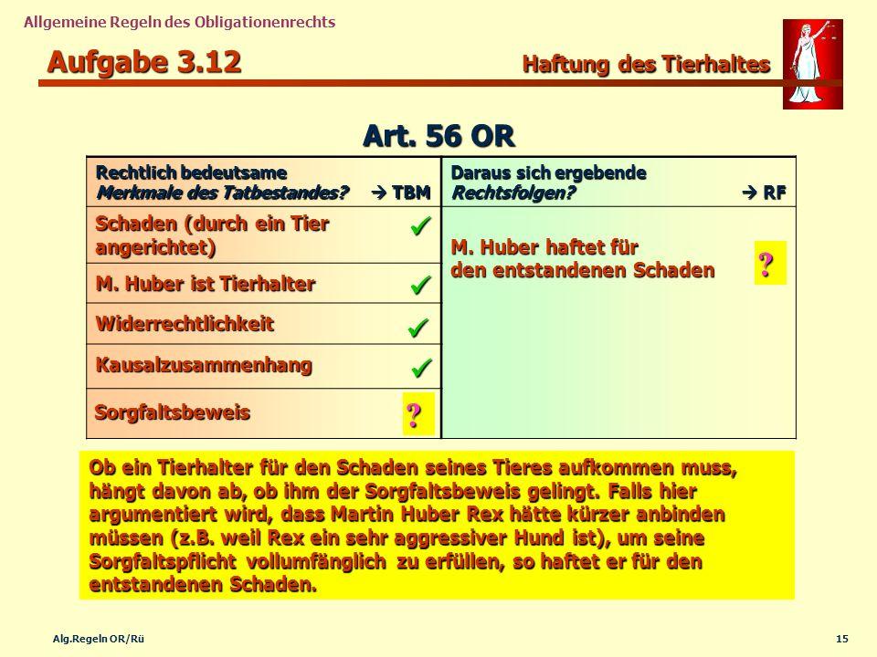 15Alg.Regeln OR/Rü Allgemeine Regeln des Obligationenrechts Aufgabe 3.12 Haftung des Tierhaltes Rechtlich bedeutsame Merkmale des Tatbestandes? TBM Da