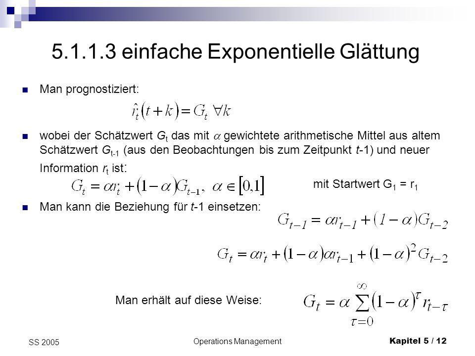 Operations ManagementKapitel 5 / 12 SS 2005 Man prognostiziert: 5.1.1.3 einfache Exponentielle Glättung wobei der Schätzwert G t das mit gewichtete ar