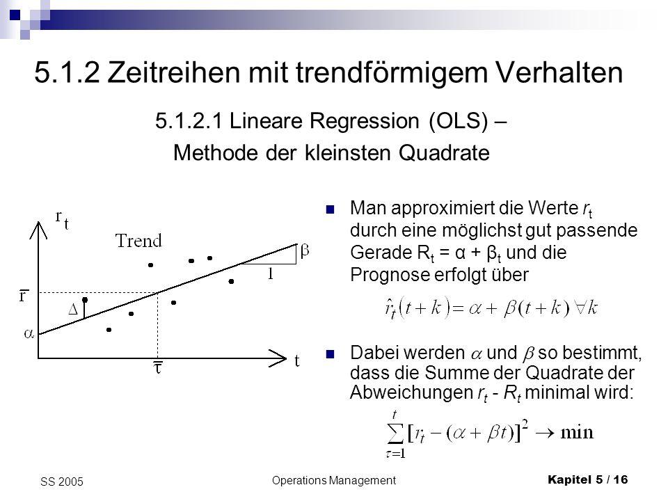 Operations ManagementKapitel 5 / 17 SS 2005 Als Ergebnis dieser einfachen Optimierungsaufgabe erhält man (wenn die Beobachtungen zu den Zeitpunkten 1, 2,..., t vorliegen): Lineare Regression II und Mittelwert der Zeitpunkte (der erklärenden Variablen).