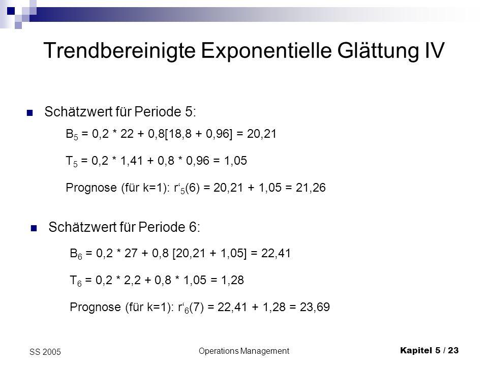 Operations ManagementKapitel 5 / 24 SS 2005 Trendbereinigte Exponentielle Glättung V Schätzwert für Periode 7: B 7 = 0,2 * 23 + 0,8[ 22,41 + 1,28] = 23,55 T 7 = 0,2 * 1,14 + 0,8 * 1,28 = 1,25 Prognose (für k=1): r 7 (8) = 23,55 + 1,25 = 23,69 T123456789101112 Rt152117182227232932282532 Bt1818,820,2122,4123,5525,6428,0529,3329,7131,22 Tt10,961,051,281,251,411,621,551,321,35 19,7621,2623,6924,827,0629,6730,8831,02