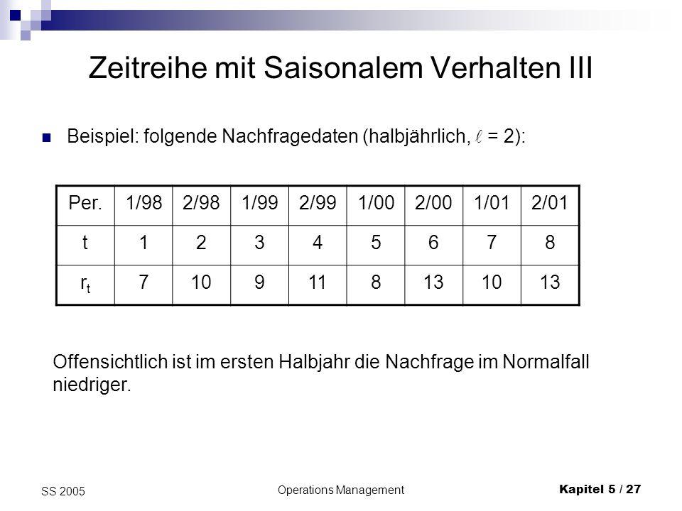 Operations ManagementKapitel 5 / 27 SS 2005 Zeitreihe mit Saisonalem Verhalten III Beispiel: folgende Nachfragedaten (halbjährlich, = 2): Per.1/982/98