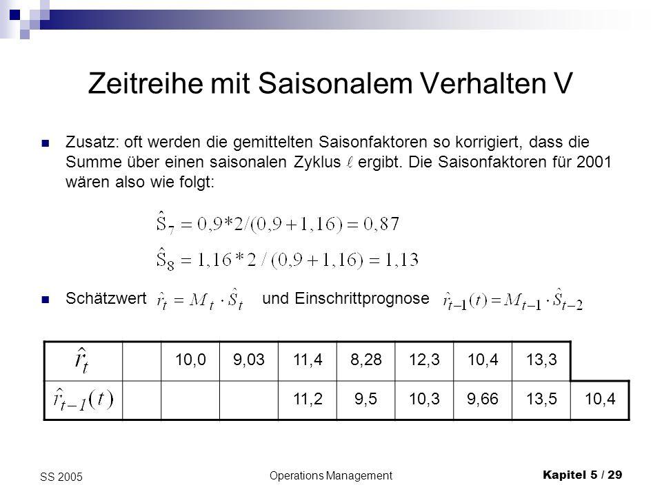 Operations ManagementKapitel 5 / 29 SS 2005 Zeitreihe mit Saisonalem Verhalten V Zusatz: oft werden die gemittelten Saisonfaktoren so korrigiert, dass
