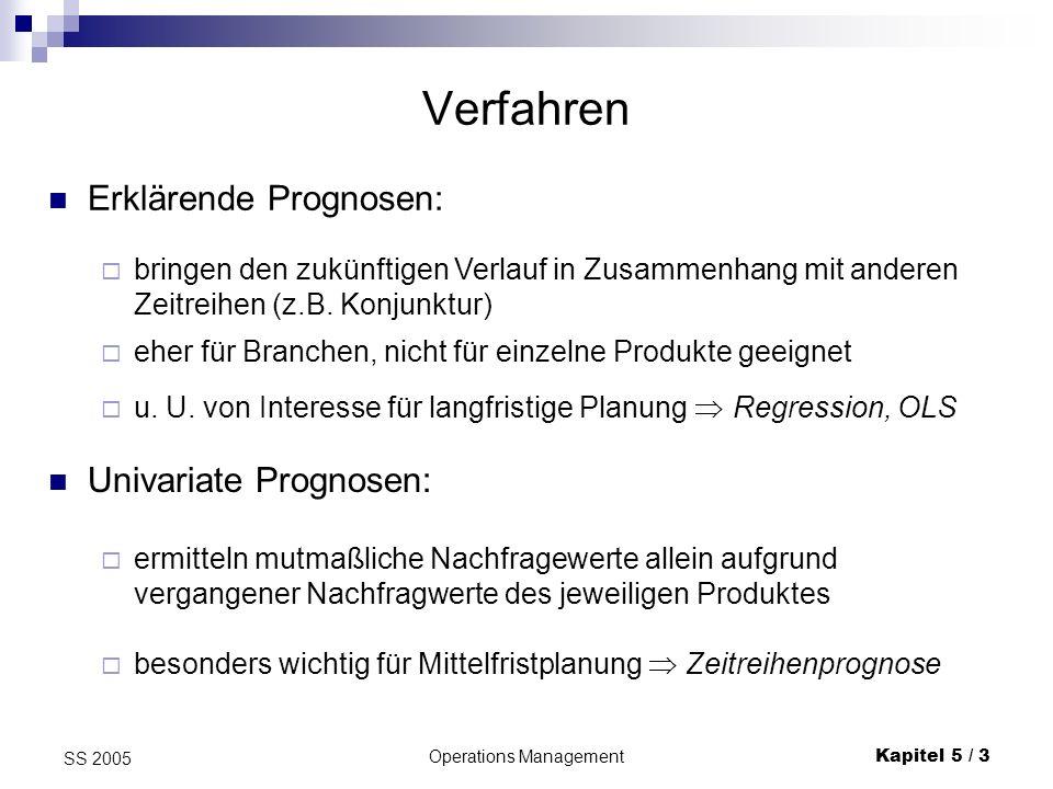 Operations ManagementKapitel 5 / 3 SS 2005 Verfahren Erklärende Prognosen: bringen den zukünftigen Verlauf in Zusammenhang mit anderen Zeitreihen (z.B