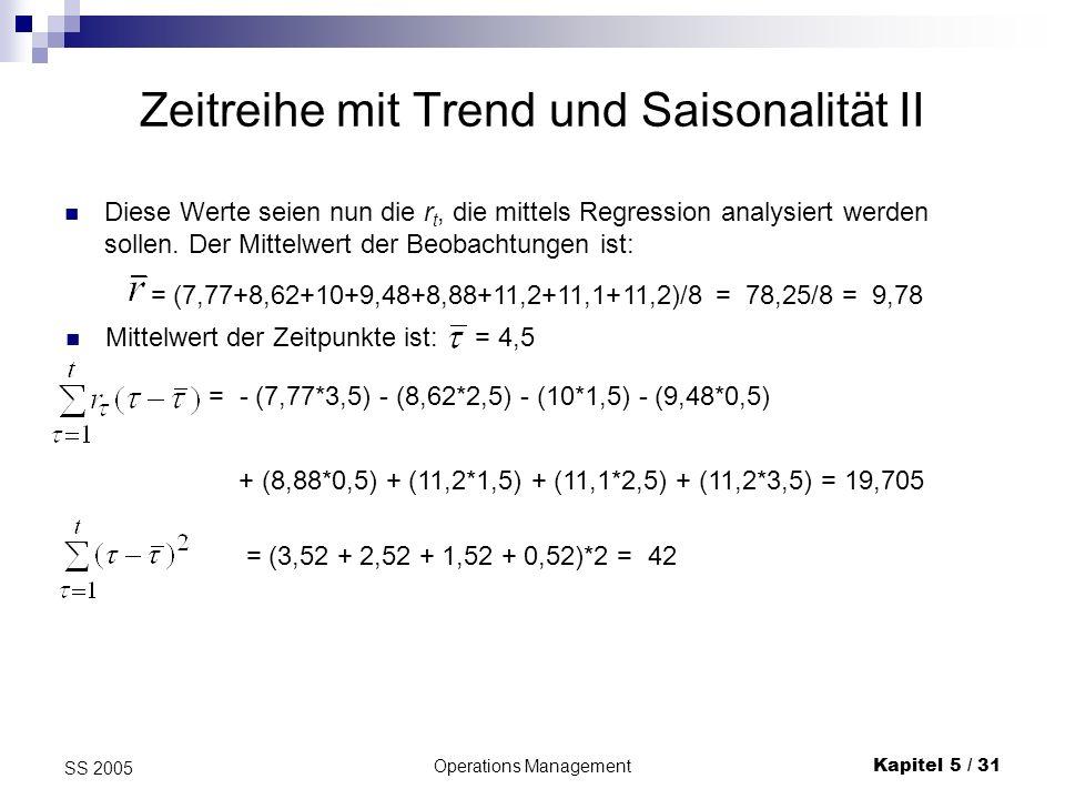 Operations ManagementKapitel 5 / 32 SS 2005 Zeitreihe mit Trend und Saisonalität III Es ist ein Trend nach oben zu erkennen: = 19,705/42= 0,47, = 9,78 - 0,47*4,5 = 7,67 für n = 1 bzw.
