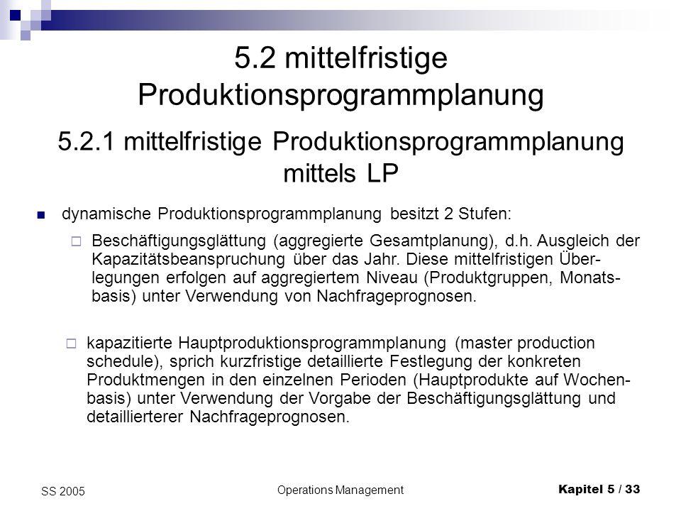 Operations ManagementKapitel 5 / 34 SS 2005 Mittelfristige PPP mittels LP II Ziel: Erstellung eines mehrperiodigen Produktionsprogramms auf der Basis eines LP-Modells.