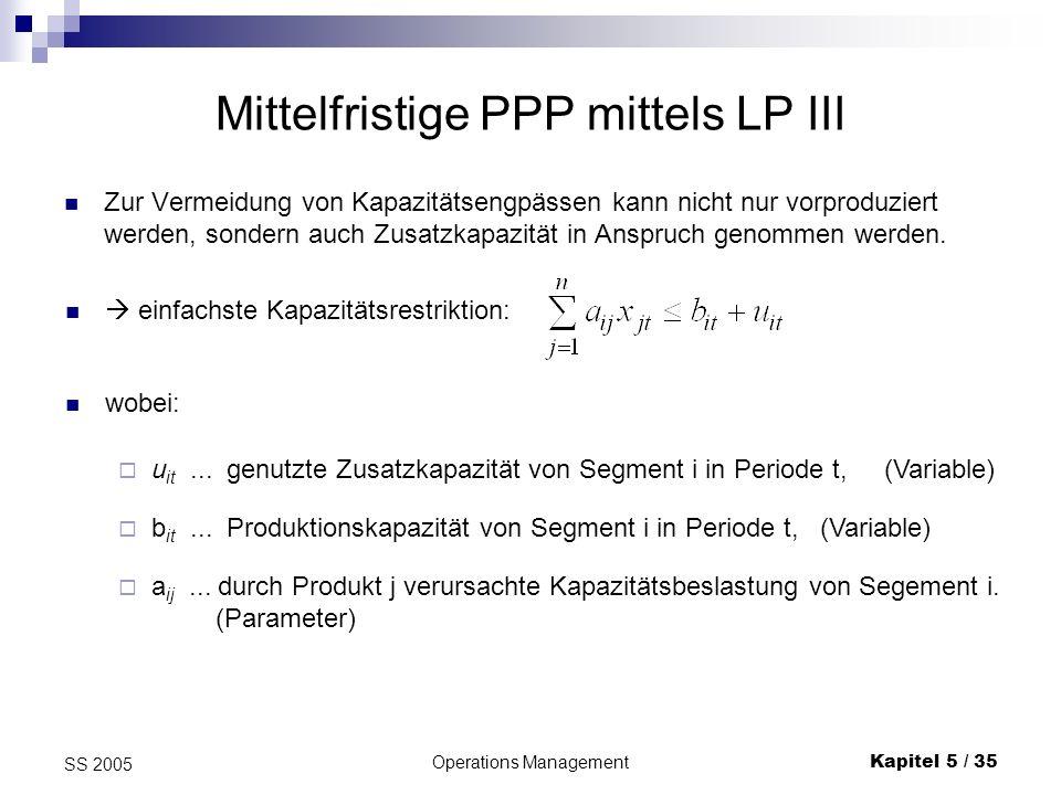 Operations ManagementKapitel 5 / 36 SS 2005 Mittelfristige PPP mittels LP IV Schwieriger ist der Fall, wenn Vorlaufperioden zu betrachten sind, in diesem Fall ist: a ijv...