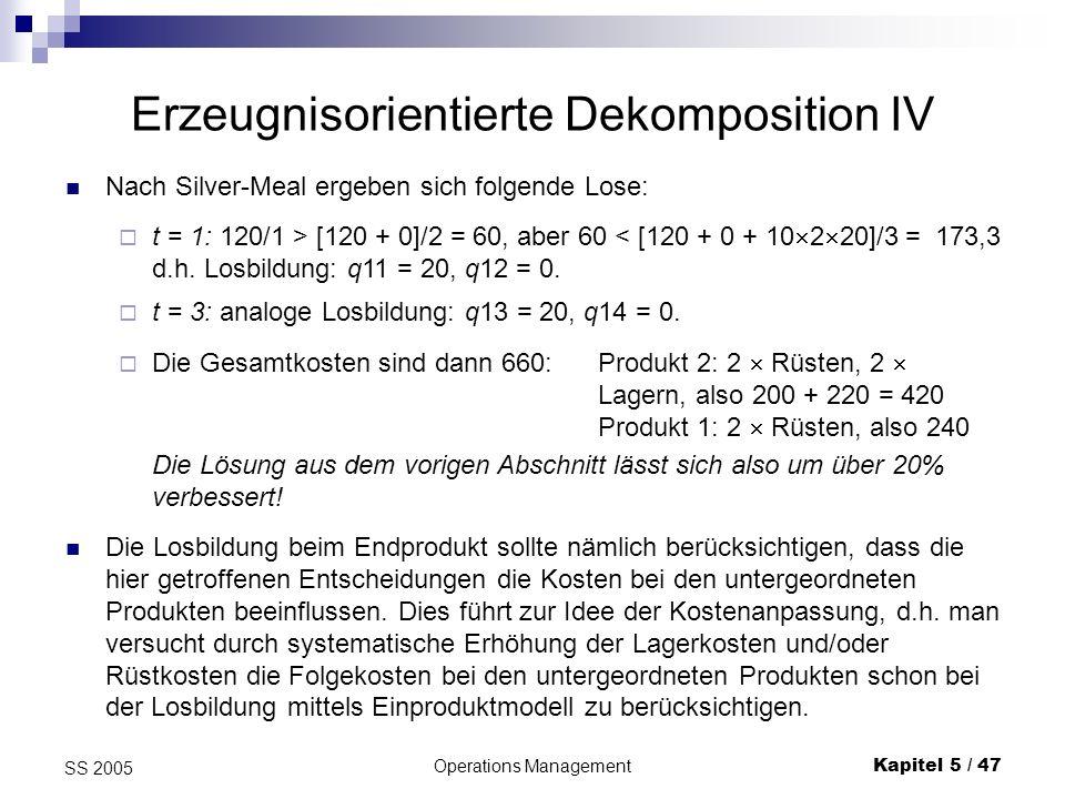 Operations ManagementKapitel 5 / 47 SS 2005 Erzeugnisorientierte Dekomposition IV Nach Silver-Meal ergeben sich folgende Lose: t = 1: 120/1 > [120 + 0