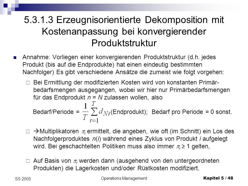 Operations ManagementKapitel 5 / 49 SS 2005 Varianten Variante 1: motiviert durch Überlegungen zum ELSP mit konvergierender Produktstruktur werden folgende Multiplikatoren ermittelt sodann werden die Rüstkosten korrigiert: wobei die Lagerkosten h j nicht verändert werden.