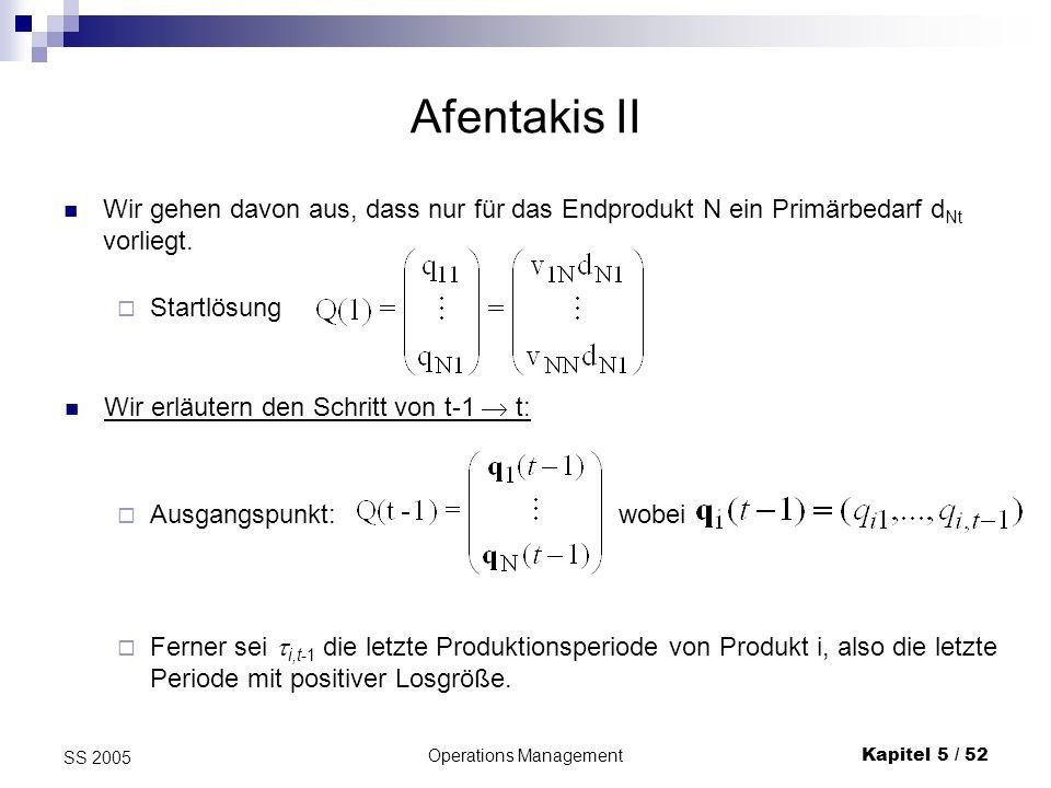 Operations ManagementKapitel 5 / 52 SS 2005 Afentakis II Wir gehen davon aus, dass nur für das Endprodukt N ein Primärbedarf d Nt vorliegt. Startlösun