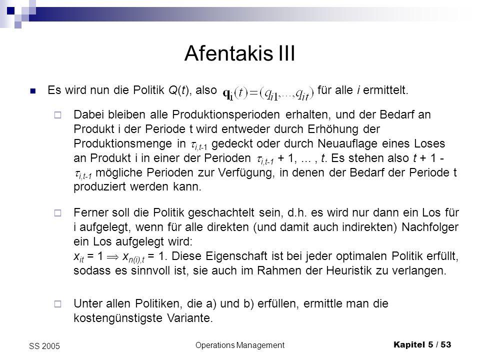 Operations ManagementKapitel 5 / 53 SS 2005 Afentakis III Es wird nun die Politik Q(t), also für alle i ermittelt. Unter allen Politiken, die a) und b