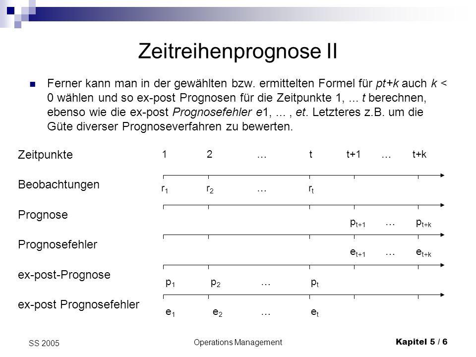 Operations ManagementKapitel 5 / 7 SS 2005 Zeitreihenprognose III Maßzahlen für die Güte einer Prognose stellen Mittelwert und Streuung der Prognosefehler dar.