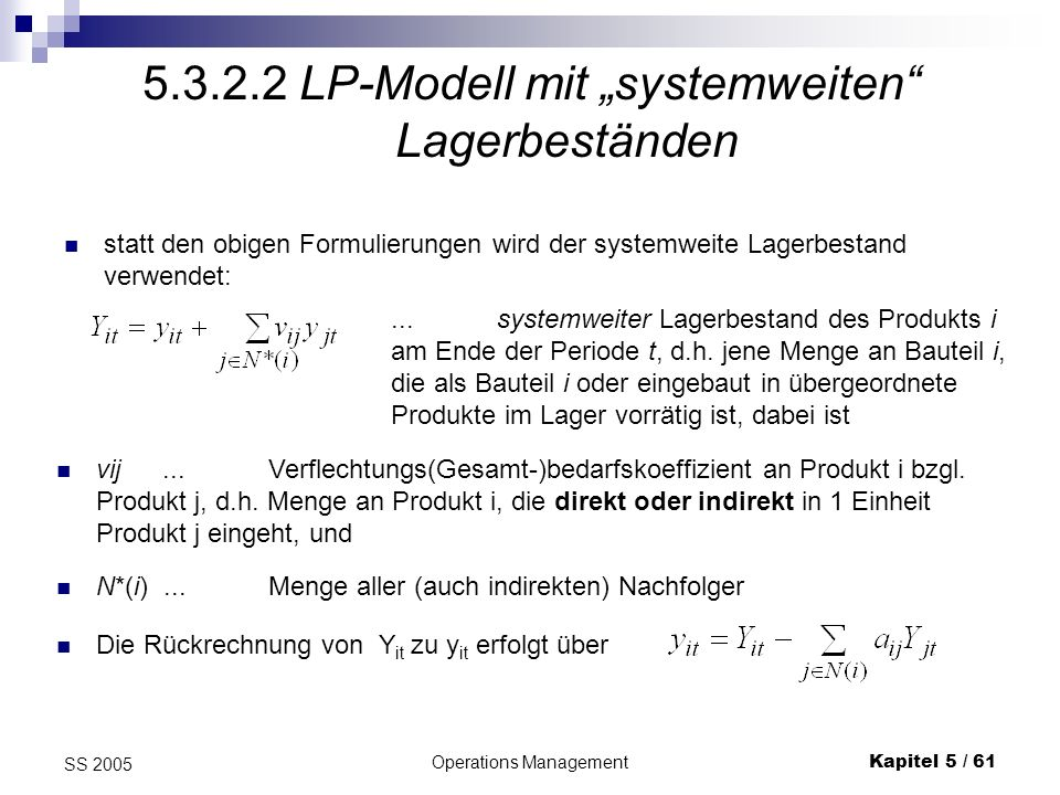 Operations ManagementKapitel 5 / 62 SS 2005 LP mit systemweiten Lagerbeständen II analog definiert man:...systemweiter Lagerhaltungs- kostensatz für Produkt i, wobei V(i)...Menge aller direkten Vorgänger des Produktes i Obiges Beispiel: N*(i) = N(i) hier z.B.: a 23 = 2, v 23 = 2 + 1 = 3 Also Y 2t = y 2t + 1y 1t + 3y 3t V(1) = {2}, V(3) = {1, 2} Wenn z.B.