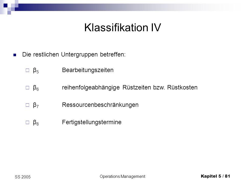 Operations ManagementKapitel 5 / 81 SS 2005 Klassifikation IV Die restlichen Untergruppen betreffen: β 6 reihenfolgeabhängige Rüstzeiten bzw. Rüstkost