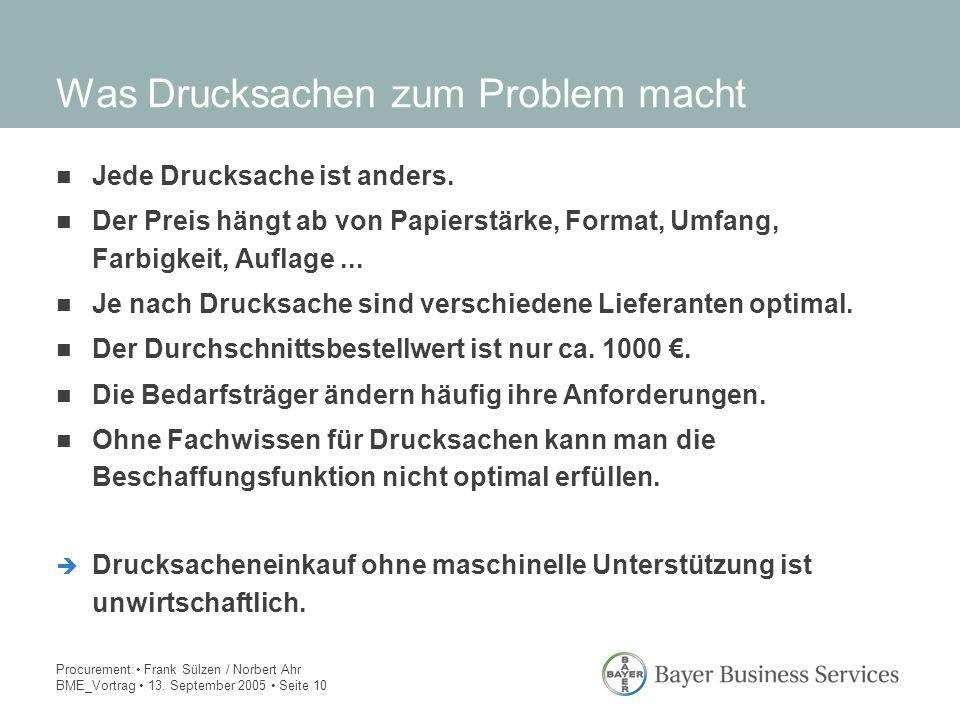 Procurement Frank Sülzen / Norbert Ahr BME_Vortrag 13. September 2005 Seite 10 Was Drucksachen zum Problem macht Jede Drucksache ist anders. Der Preis