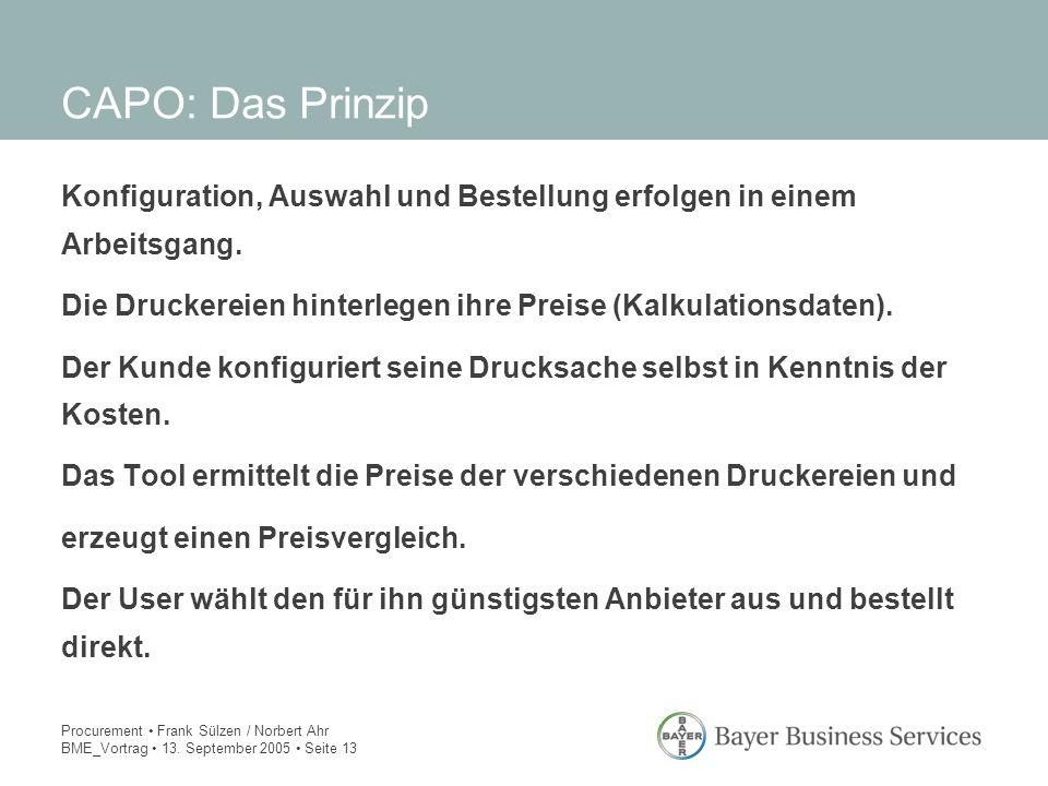 Procurement Frank Sülzen / Norbert Ahr BME_Vortrag 13. September 2005 Seite 13 Konfiguration, Auswahl und Bestellung erfolgen in einem Arbeitsgang. Di