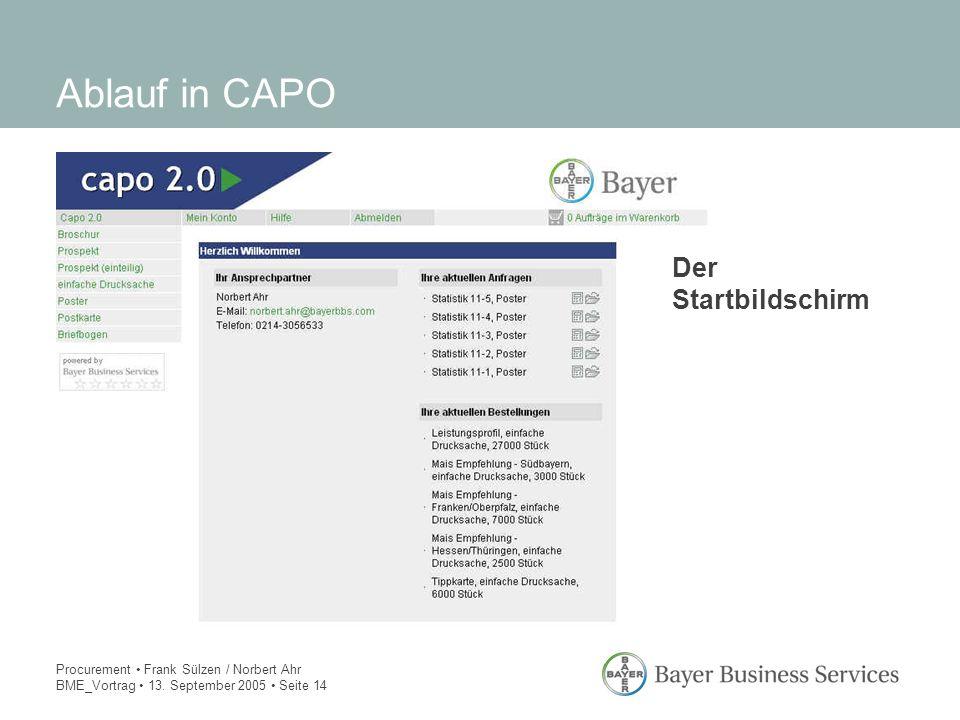 Procurement Frank Sülzen / Norbert Ahr BME_Vortrag 13. September 2005 Seite 14 Ablauf in CAPO Der Startbildschirm