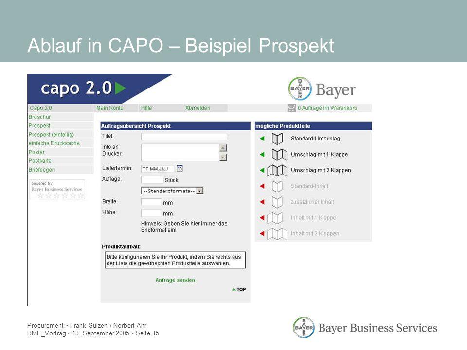 Procurement Frank Sülzen / Norbert Ahr BME_Vortrag 13. September 2005 Seite 15 Ablauf in CAPO – Beispiel Prospekt