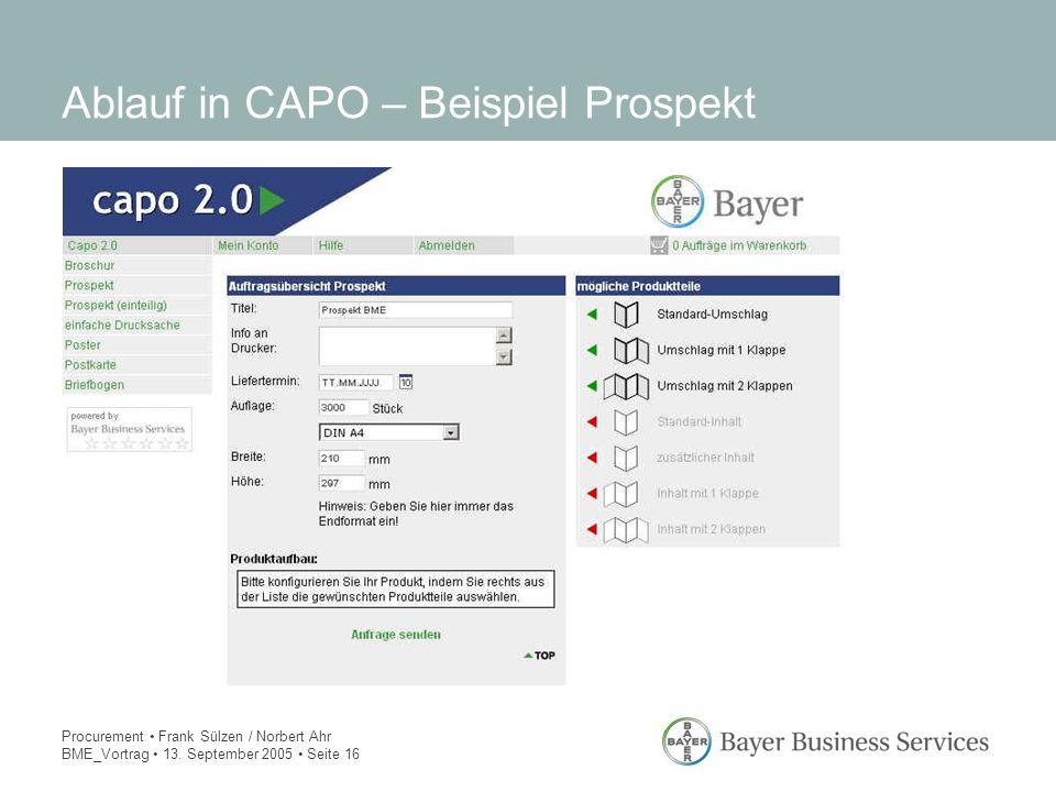 Procurement Frank Sülzen / Norbert Ahr BME_Vortrag 13. September 2005 Seite 16 Ablauf in CAPO – Beispiel Prospekt