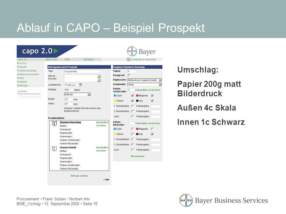 Procurement Frank Sülzen / Norbert Ahr BME_Vortrag 13. September 2005 Seite 18 Ablauf in CAPO – Beispiel Prospekt Umschlag: Papier 200g matt Bilderdru