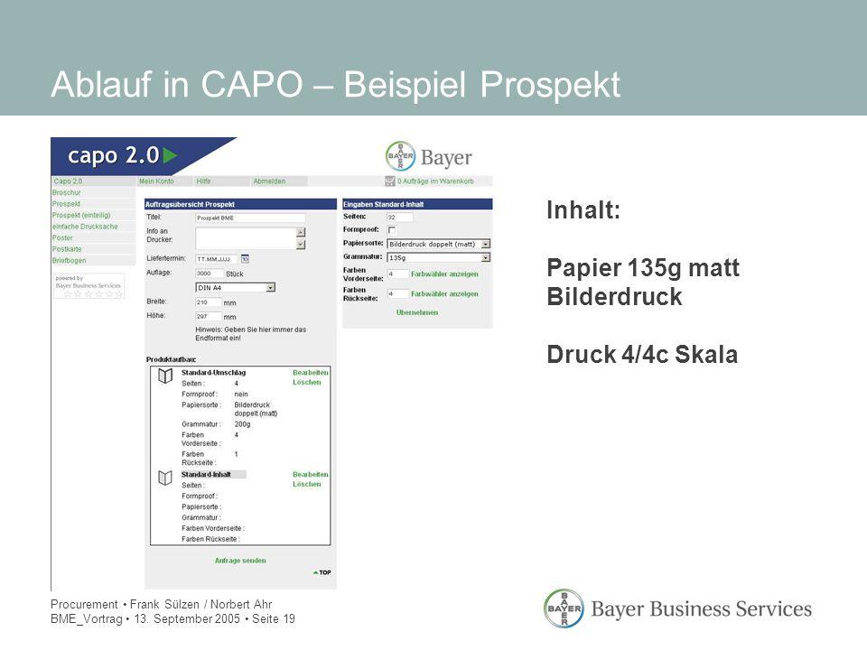 Procurement Frank Sülzen / Norbert Ahr BME_Vortrag 13. September 2005 Seite 19 Ablauf in CAPO – Beispiel Prospekt Inhalt: Papier 135g matt Bilderdruck