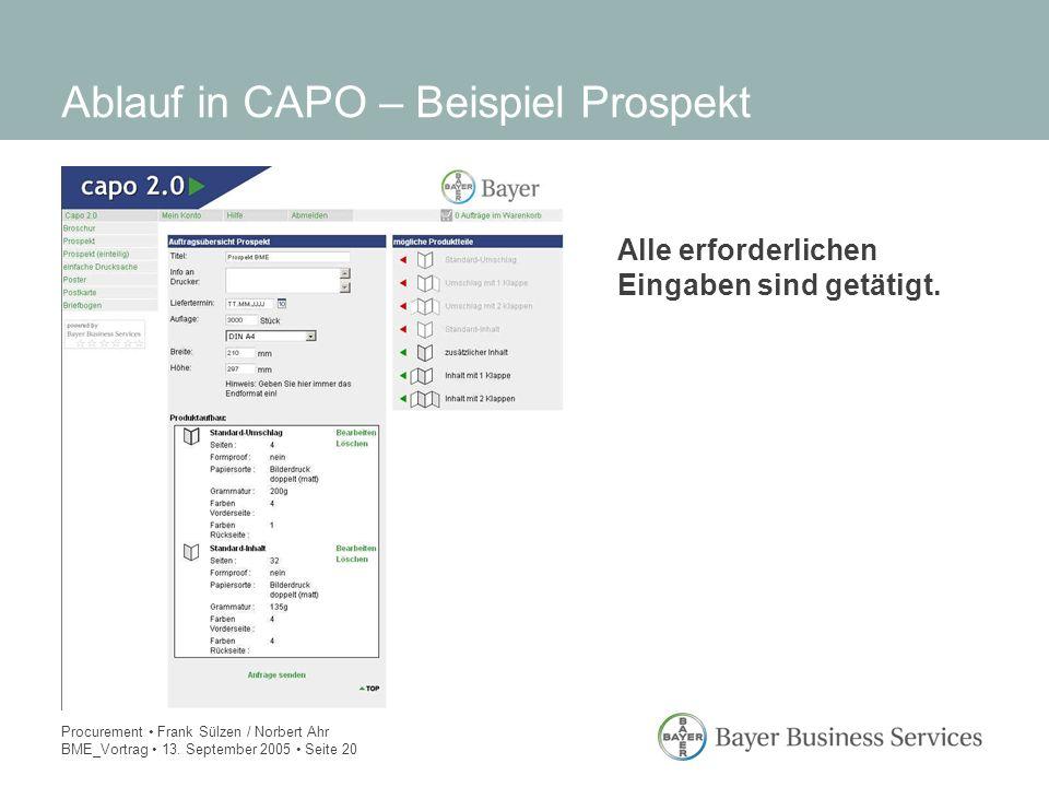 Procurement Frank Sülzen / Norbert Ahr BME_Vortrag 13. September 2005 Seite 20 Ablauf in CAPO – Beispiel Prospekt Alle erforderlichen Eingaben sind ge