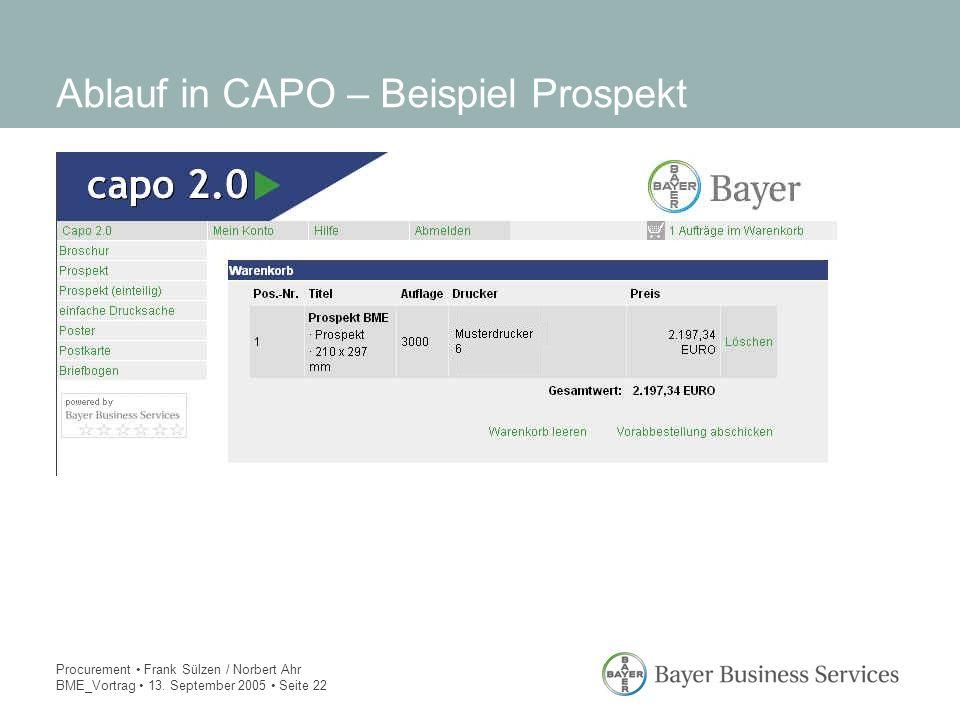 Procurement Frank Sülzen / Norbert Ahr BME_Vortrag 13. September 2005 Seite 22 Ablauf in CAPO – Beispiel Prospekt