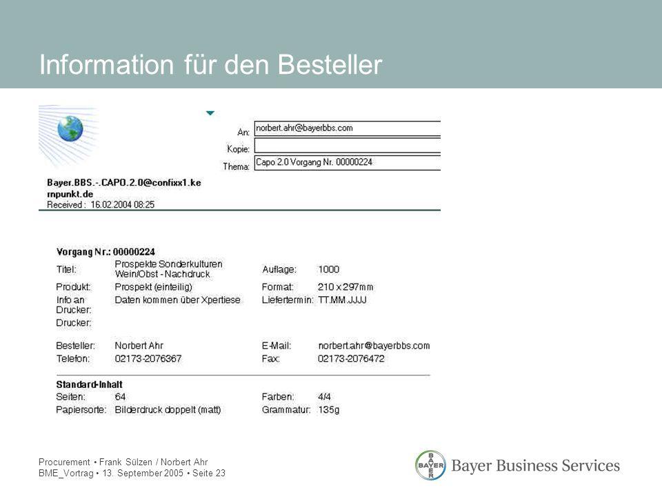 Procurement Frank Sülzen / Norbert Ahr BME_Vortrag 13. September 2005 Seite 23 Information für den Besteller