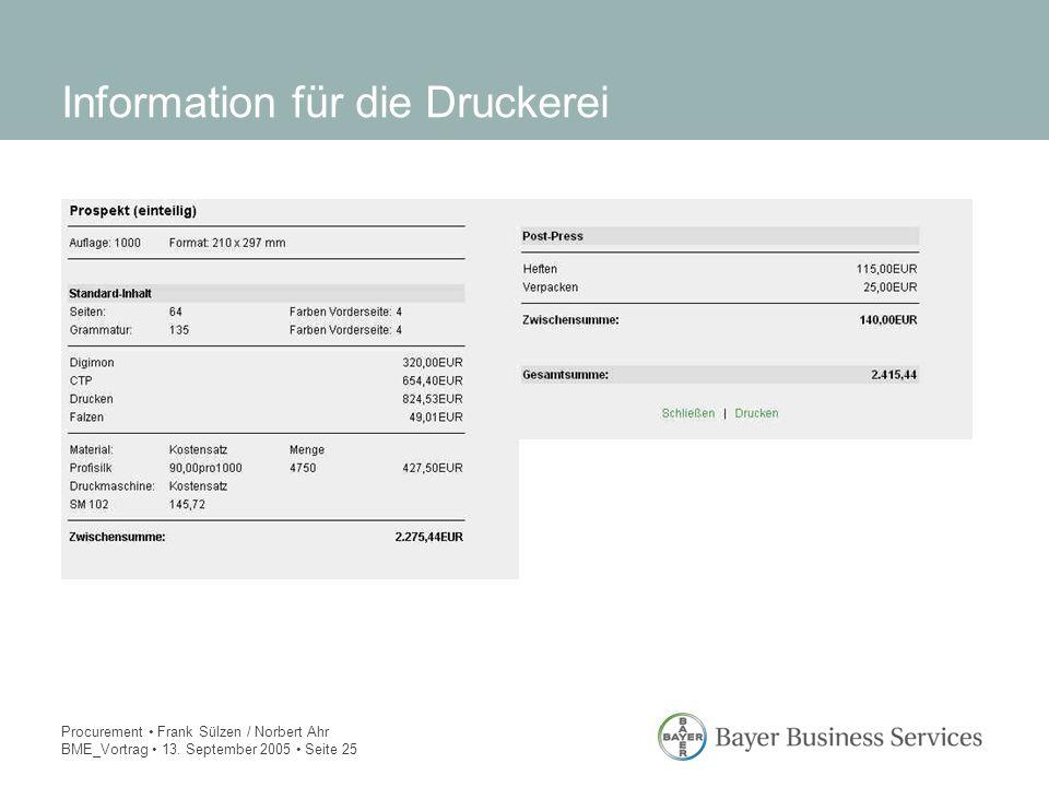 Procurement Frank Sülzen / Norbert Ahr BME_Vortrag 13. September 2005 Seite 25 Information für die Druckerei