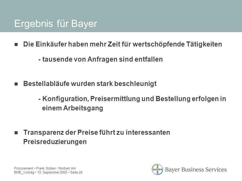 Procurement Frank Sülzen / Norbert Ahr BME_Vortrag 13. September 2005 Seite 29 Ergebnis für Bayer Die Einkäufer haben mehr Zeit für wertschöpfende Tät