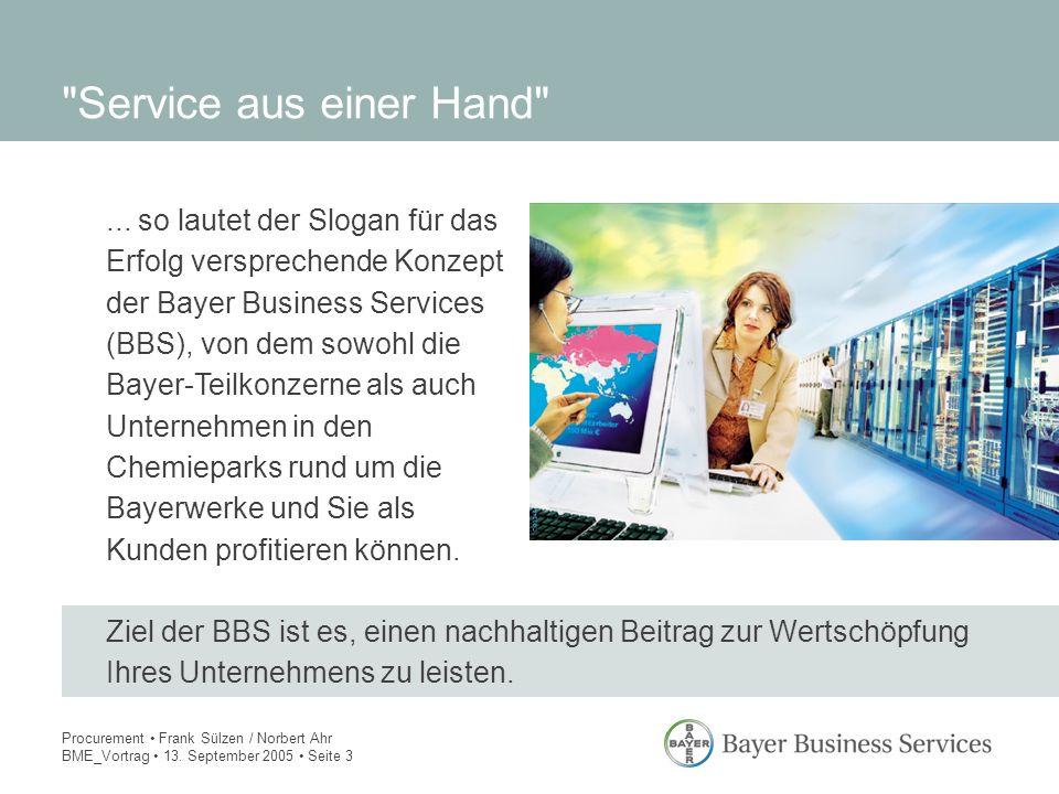 Procurement Frank Sülzen / Norbert Ahr BME_Vortrag 13. September 2005 Seite 3... so lautet der Slogan für das Erfolg versprechende Konzept der Bayer B