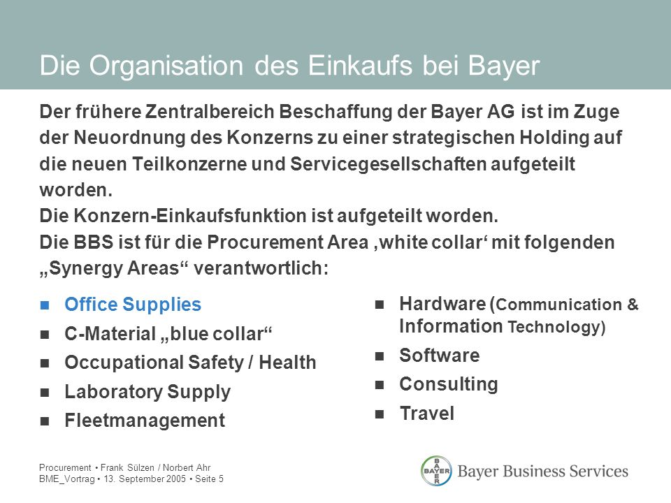 Procurement Frank Sülzen / Norbert Ahr BME_Vortrag 13. September 2005 Seite 5 Die Organisation des Einkaufs bei Bayer Der frühere Zentralbereich Besch