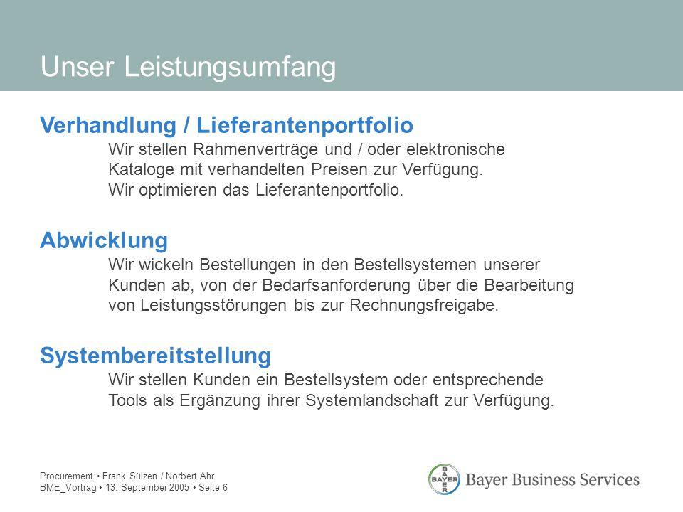 Procurement Frank Sülzen / Norbert Ahr BME_Vortrag 13. September 2005 Seite 6 Unser Leistungsumfang Verhandlung / Lieferantenportfolio Wir stellen Rah