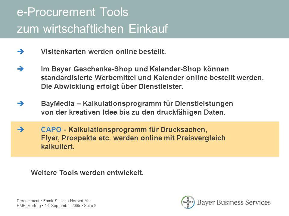 Procurement Frank Sülzen / Norbert Ahr BME_Vortrag 13. September 2005 Seite 8 e-Procurement Tools zum wirtschaftlichen Einkauf èVisitenkarten werden o