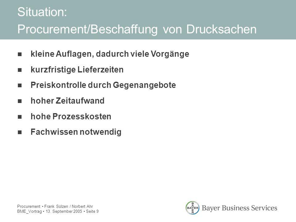 Procurement Frank Sülzen / Norbert Ahr BME_Vortrag 13. September 2005 Seite 9 kleine Auflagen, dadurch viele Vorgänge kurzfristige Lieferzeiten Preisk