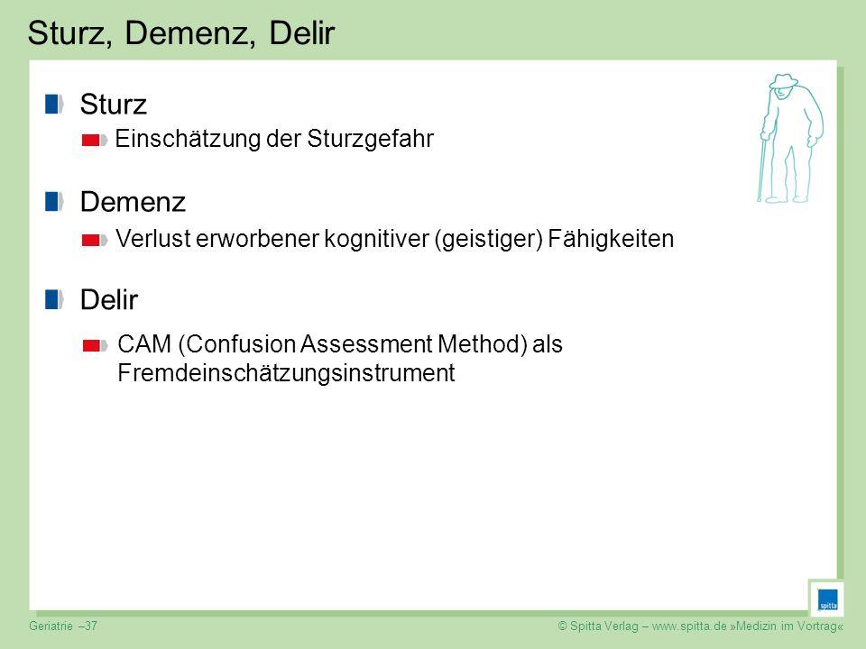 © Spitta Verlag – www.spitta.de »Medizin im Vortrag« Sturz, Demenz, Delir Sturz Einschätzung der Sturzgefahr Demenz Verlust erworbener kognitiver (gei