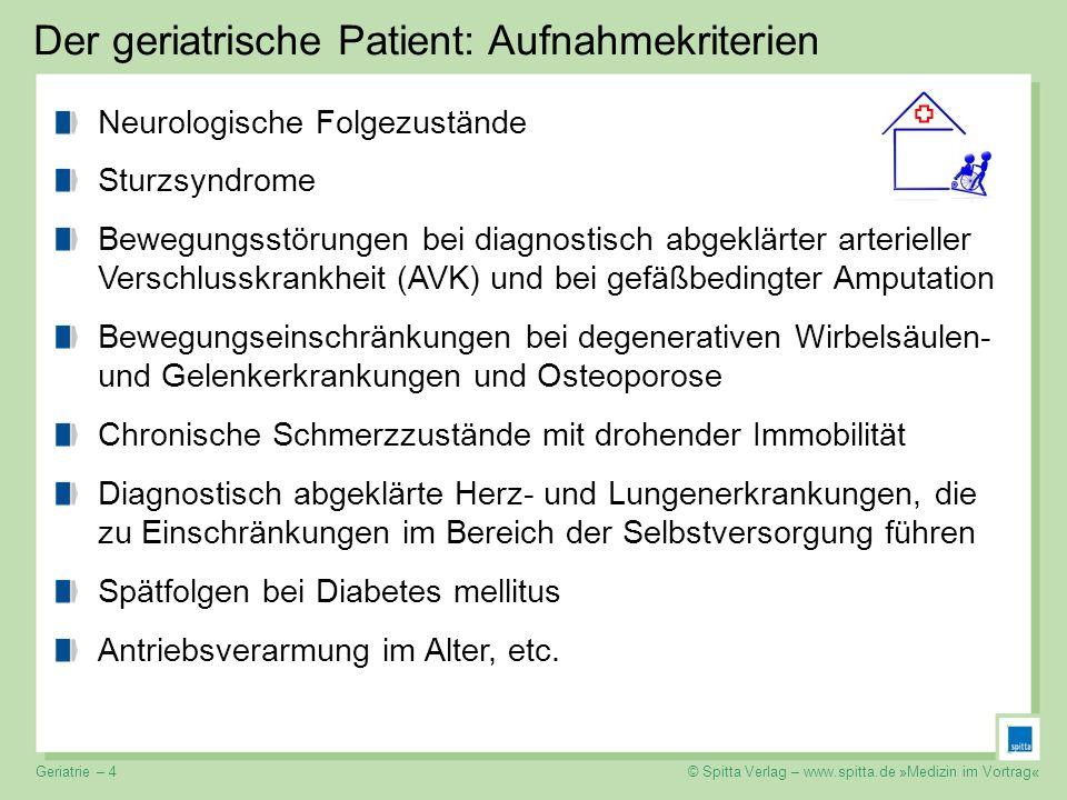 © Spitta Verlag – www.spitta.de »Medizin im Vortrag« Der geriatrische Patient: Aufnahmekriterien Neurologische Folgezustände Sturzsyndrome Bewegungsst