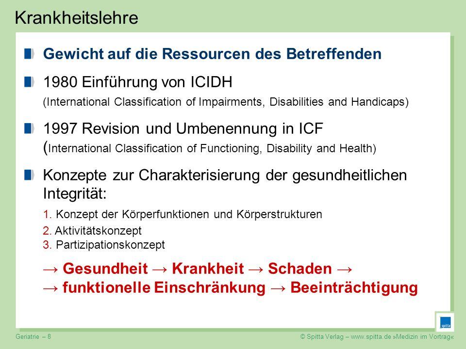 © Spitta Verlag – www.spitta.de »Medizin im Vortrag« Krankheitslehre Gewicht auf die Ressourcen des Betreffenden 1980 Einführung von ICIDH (Internatio
