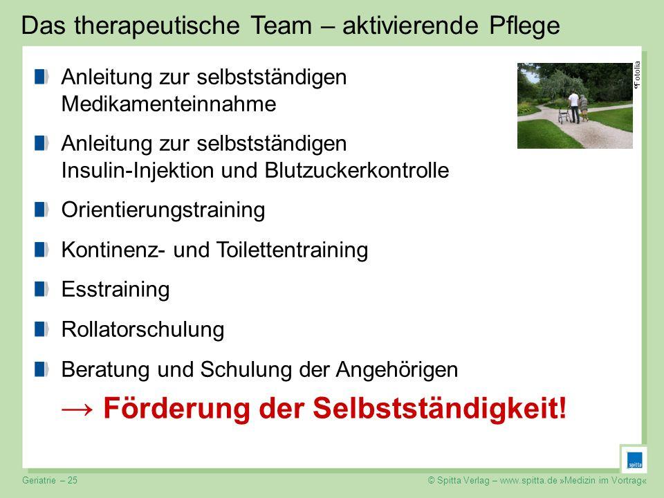© Spitta Verlag – www.spitta.de »Medizin im Vortrag« Das therapeutische Team – aktivierende Pflege Förderung der Selbstständigkeit! Anleitung zur selb