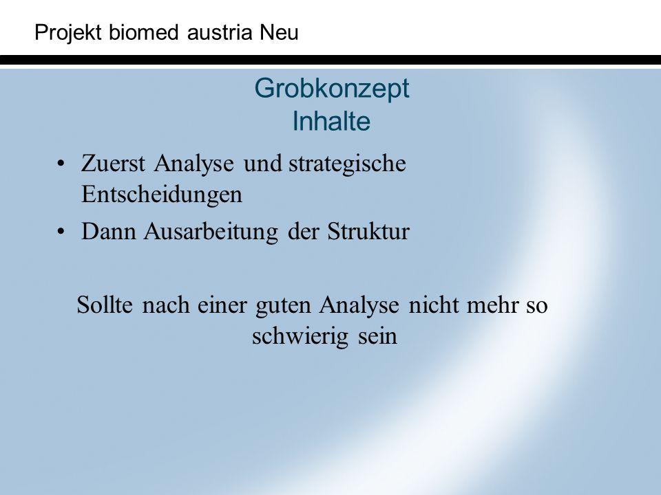 Projekt biomed austria Neu Grobkonzept Inhalte Zuerst Analyse und strategische Entscheidungen Dann Ausarbeitung der Struktur Sollte nach einer guten A