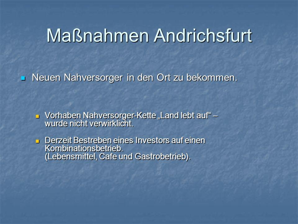 Maßnahmen Andrichsfurt Neuen Nahversorger in den Ort zu bekommen. Neuen Nahversorger in den Ort zu bekommen. Vorhaben Nahversorger-Kette Land lebt auf