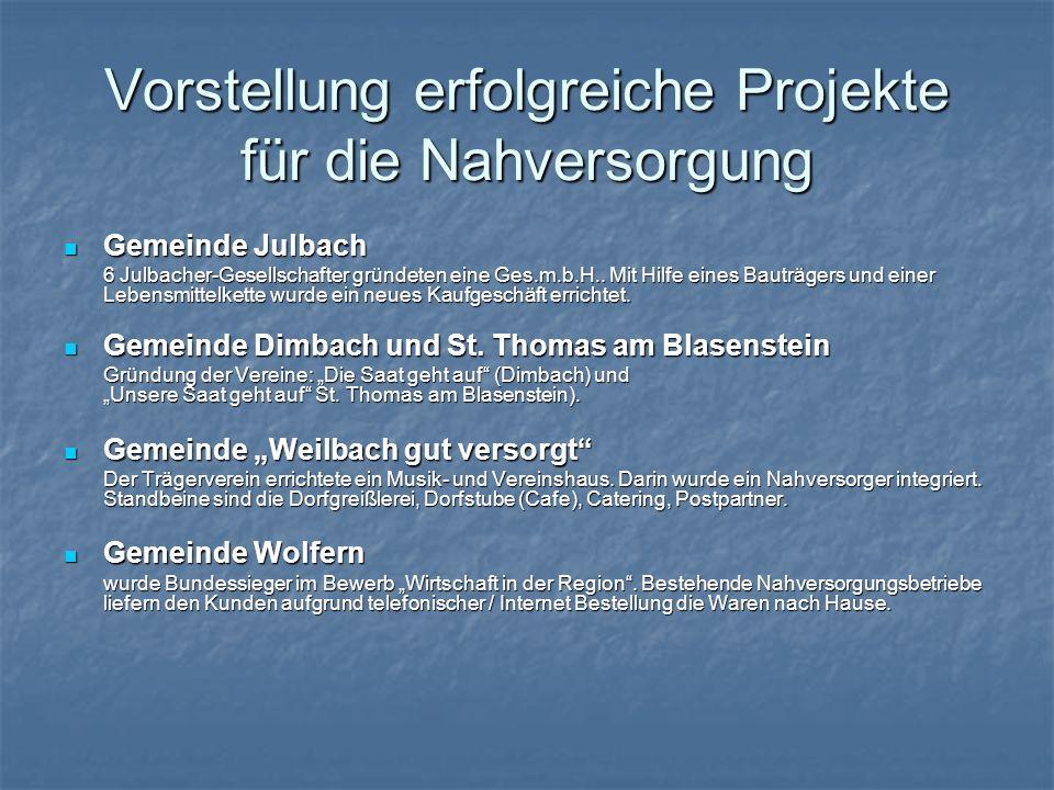 Vorstellung erfolgreiche Projekte für die Nahversorgung Gemeinde Julbach Gemeinde Julbach 6 Julbacher-Gesellschafter gründeten eine Ges.m.b.H.. Mit Hi