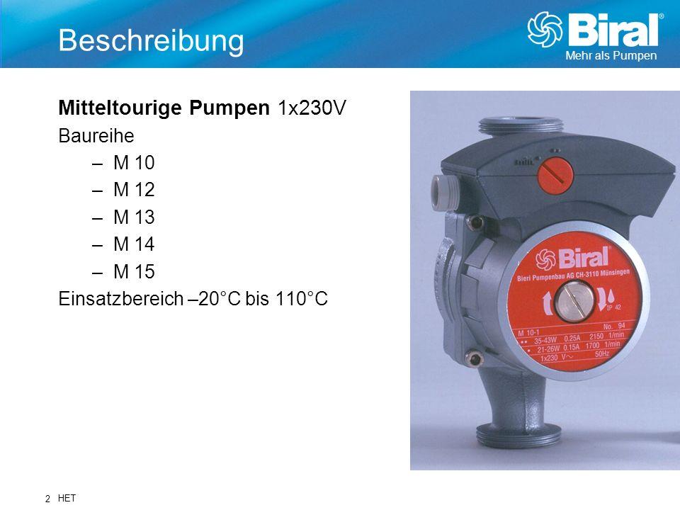 Mehr als Pumpen HET 2 Beschreibung Mitteltourige Pumpen 1x230V Baureihe –M 10 –M 12 –M 13 –M 14 –M 15 Einsatzbereich –20°C bis 110°C