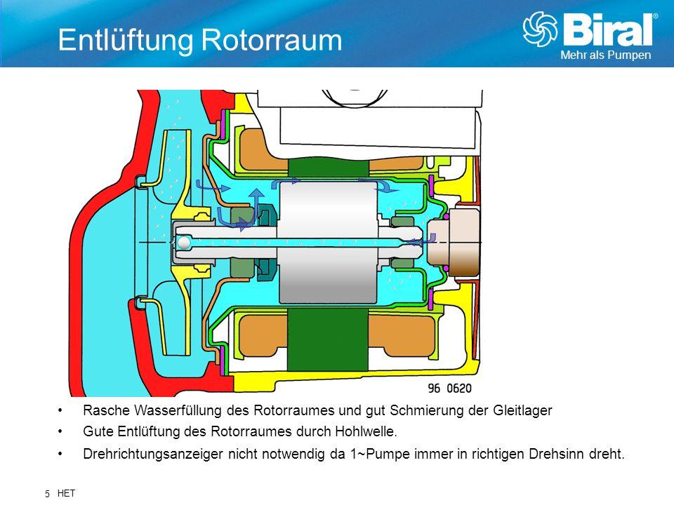 Mehr als Pumpen HET 5 Entlüftung Rotorraum Rasche Wasserfüllung des Rotorraumes und gut Schmierung der Gleitlager Gute Entlüftung des Rotorraumes durc