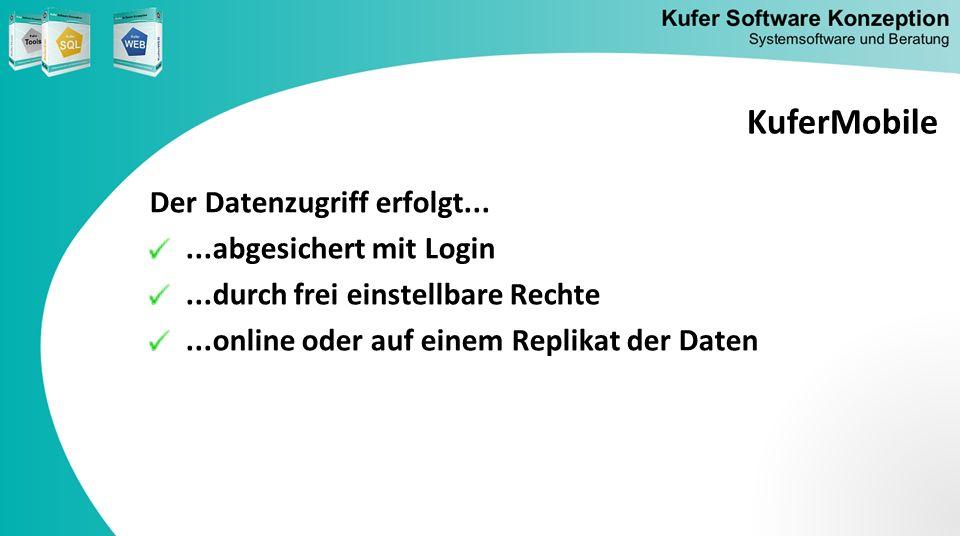 Der Datenzugriff erfolgt......abgesichert mit Login...durch frei einstellbare Rechte...online oder auf einem Replikat der Daten KuferMobile