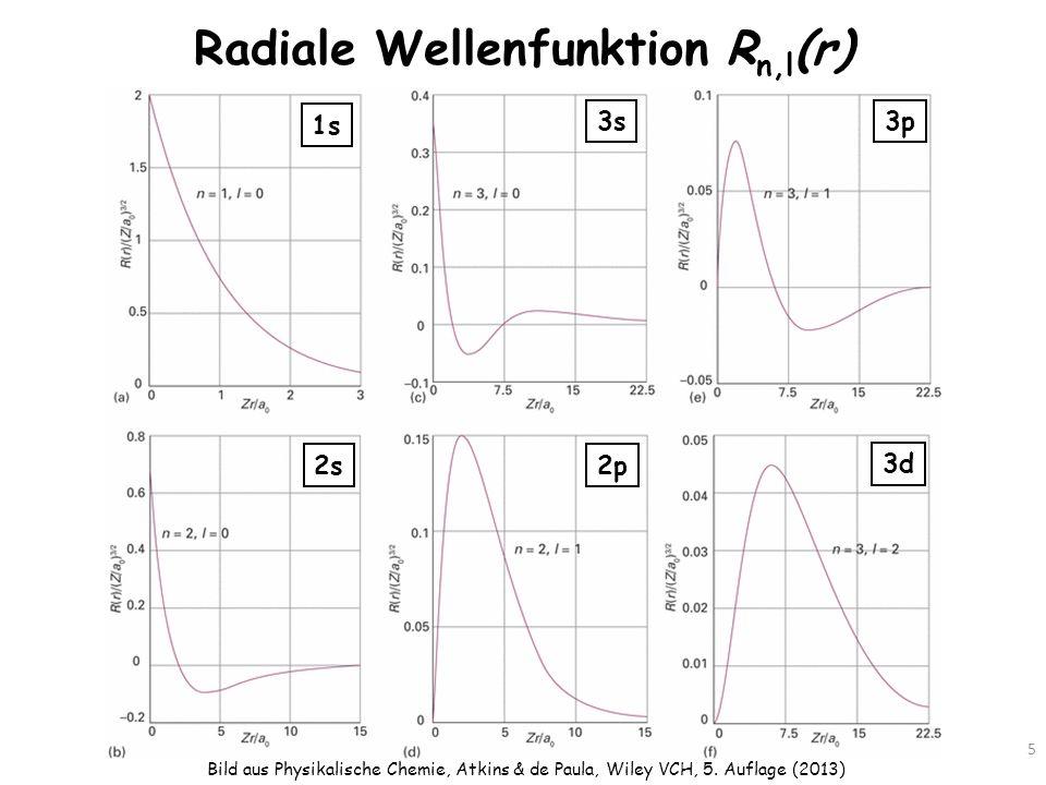 Radiale Wellenfunktion R n,l (r) 5 Bild aus Physikalische Chemie, Atkins & de Paula, Wiley VCH, 5. Auflage (2013) 1s 3d 2p2s 3s3p